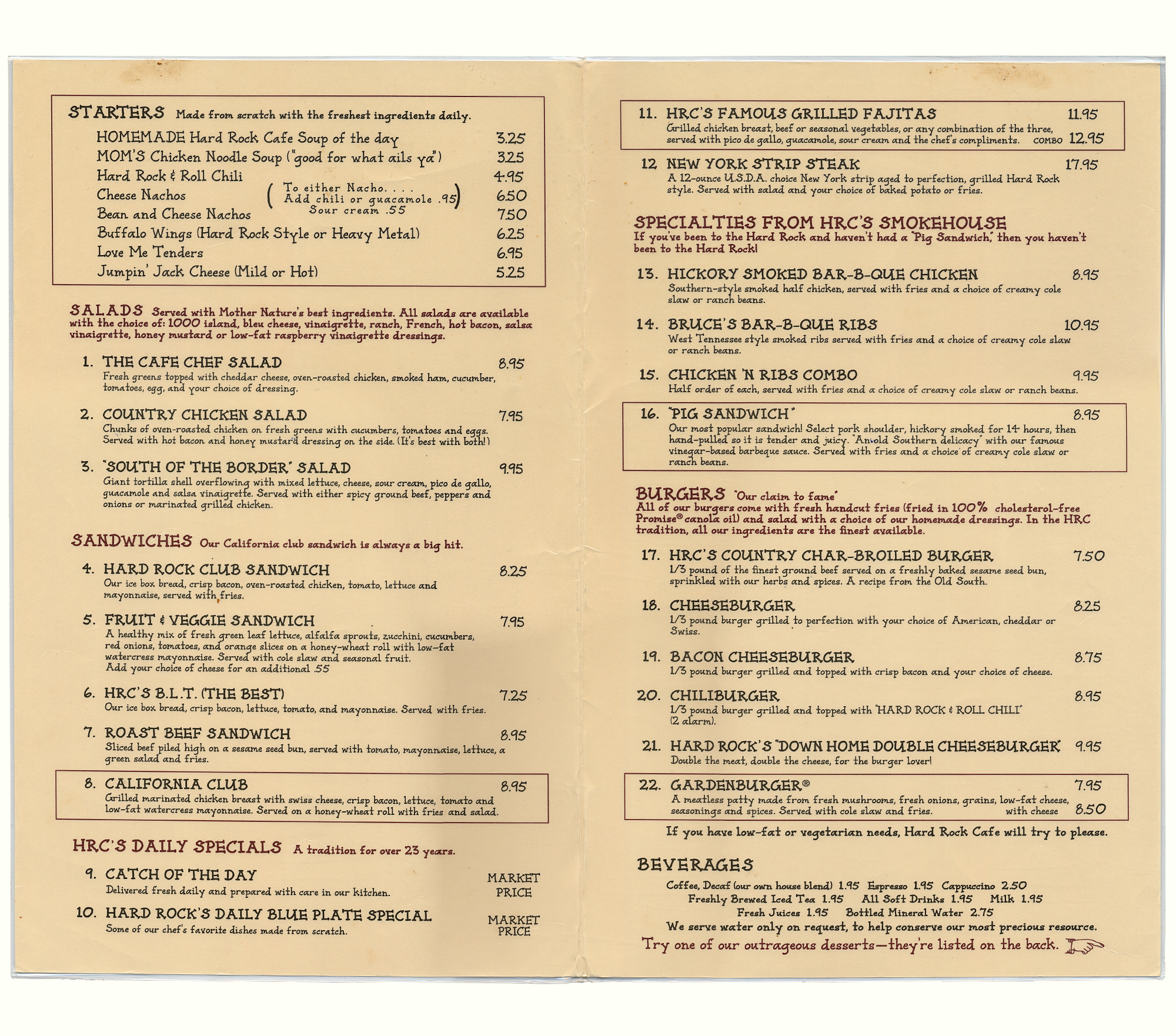 Hardrock Cafe Image Of Menu