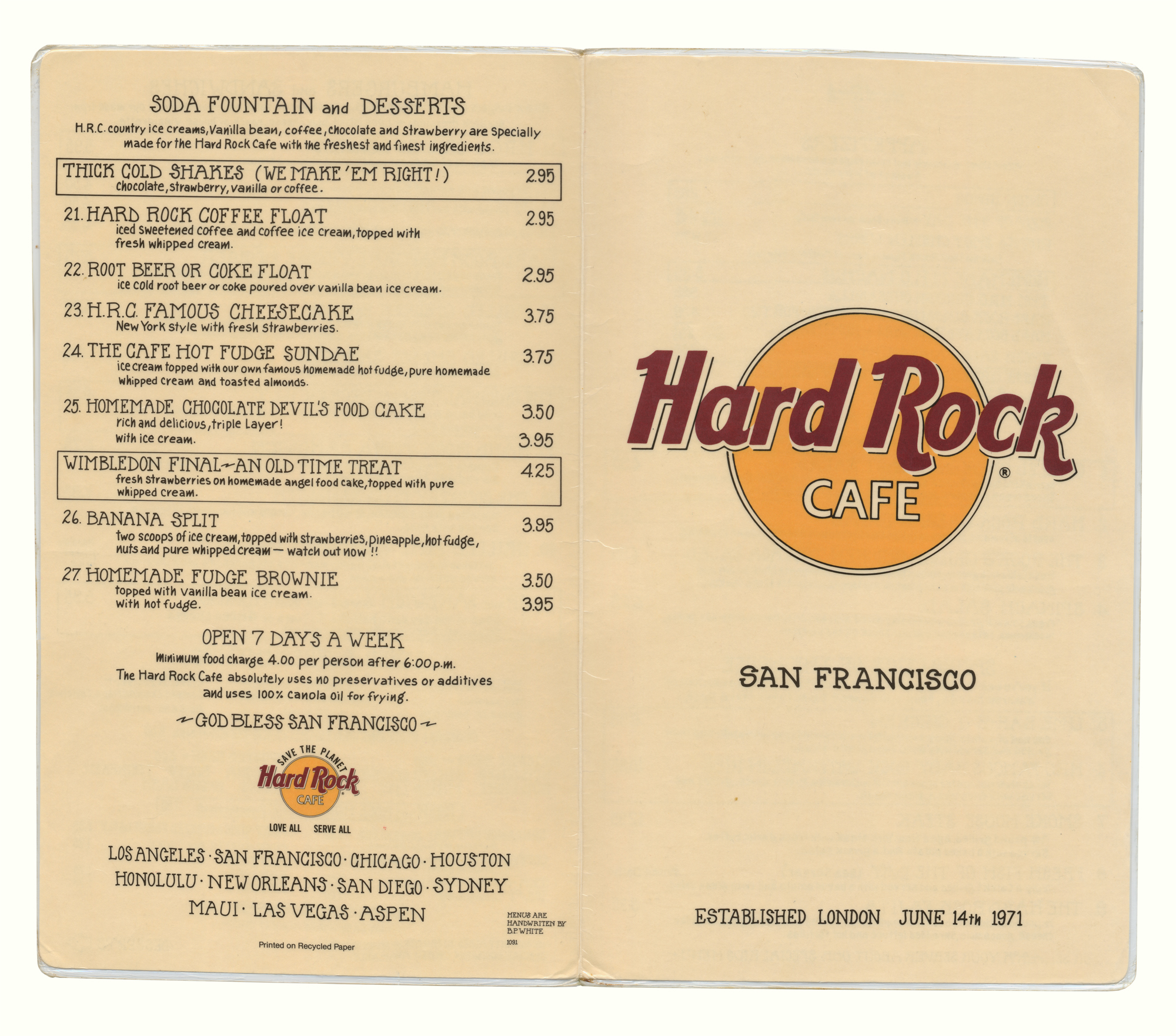 Menu Card Of Hard Rock Cafe